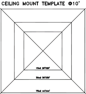 Ceiling mount template @ 10'