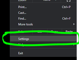 Location of the settings option on screen