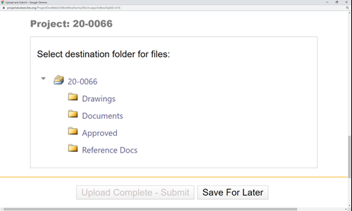 Depiction of the destination folder selection screen