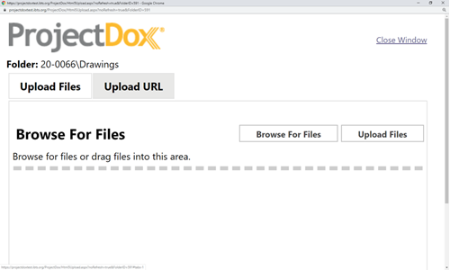 Depiction of the browse for files screen