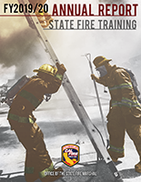 FY19-20 Annual Report Cover Image (2 Fire Fighters in PPE erecting a ladder)